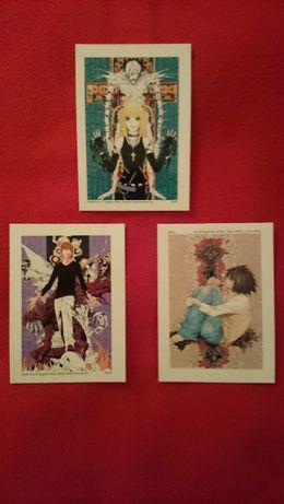 Death Note pocztówki kolekcjonerskie manga anime (Light, L, Misa)