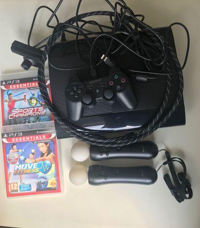 Konsola PS3 z padem, kamerą, kontrolerami ruchu w zestawie z grami