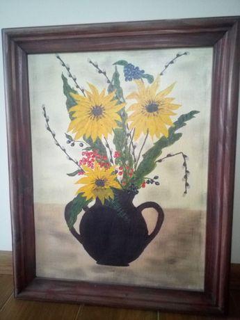 Obraz słoneczniki w wazonie na płótnie
