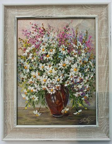 Картина маслом натюрморт цветы подарок в рамке