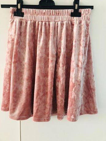 H&M welurowa spódniczka różowa 146/152