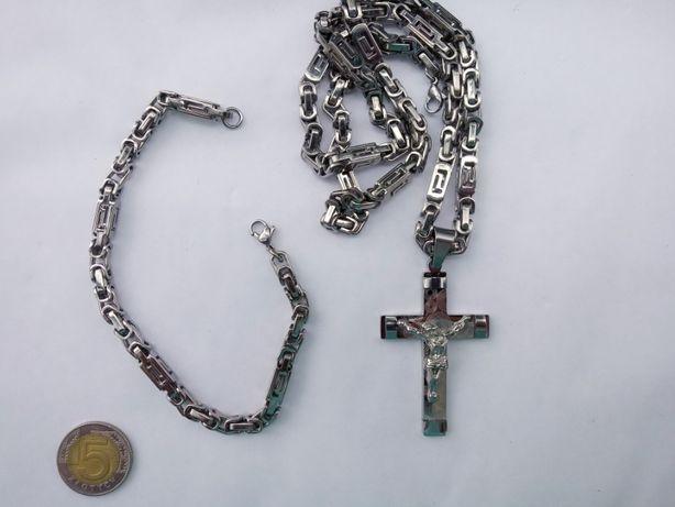 Łańcuszek,bransoletka,krzyżyk,srebro,złoto,nowy 316l komplet ze zdjęć