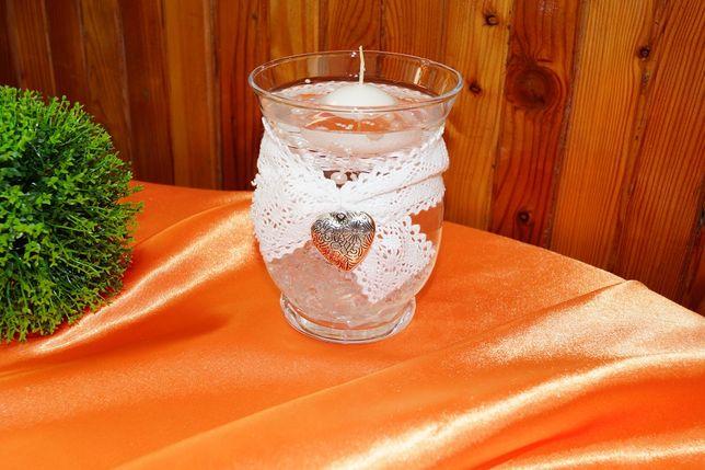 Świecznik wazonik szklany ślub wesele