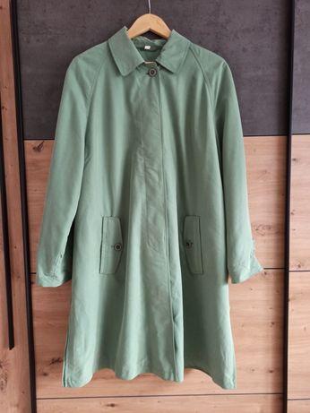 Groszkowy zielony płaszcz oversize vintage 44 46