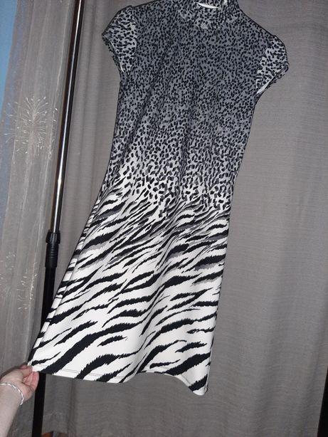 Sukienka biało czarno szara nowa M półgolfil, guziki diamenciki