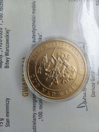 Medal- orginalna wersja , pozłacany  złoto 24 karat,  bitwa war,1920