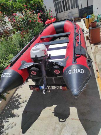 Urgente! Vendo barco 3,60m + motor Yamaha 6Cv 4T + Reboque + palamenta
