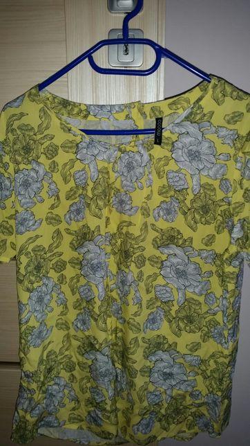 Nowa koszula żółta krótki rękaw w kwiaty Moodo r L + gratis