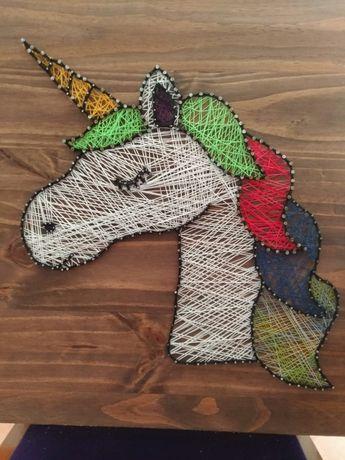 """Quadro """"Cabeça"""" Unicornio Em Linha (Artesanal)"""
