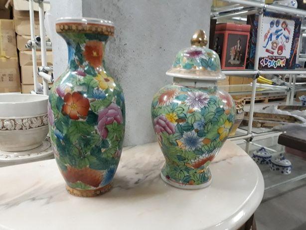 Conjunto pote e jarra - Decoração Chinesa 1000 flores