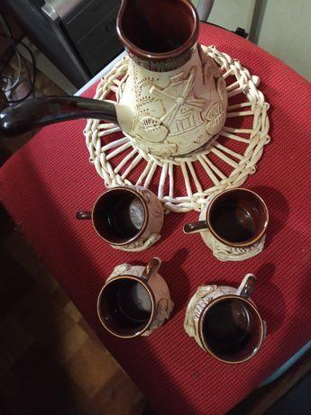 Кофейный набор : турка и чашки 4 шт. Керамика