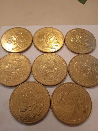"""Монеты 1 гривна юбилейные 2012, """"EURO2012"""", 8 ШТ."""