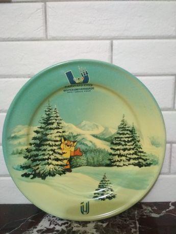 Декоративная тарелка настенная, дерево, лак, ручная роспись