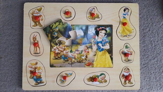 Drewniana układanka puzzle Królewna śnieżka