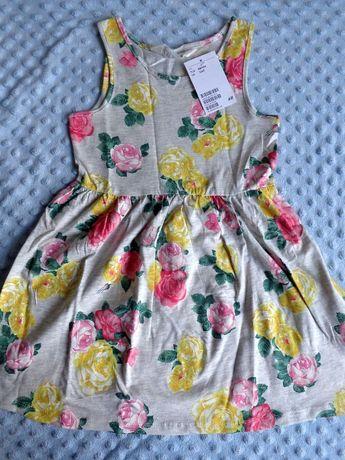 NOWA sukienka letnia h&m hm 98/104 kwiaty kwiatki róża róże metka