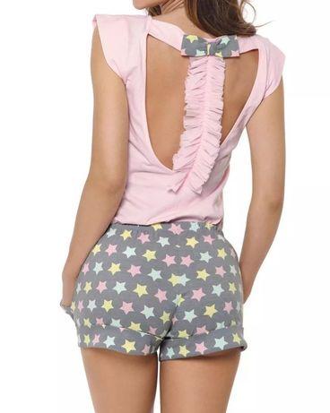 Pigeon piżama damska różowa w gwiazdki rozm. S