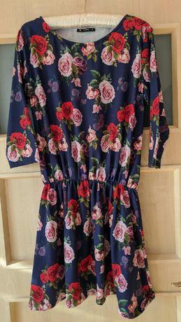 Sukienka kwiaty floral M niebieska chabrowa