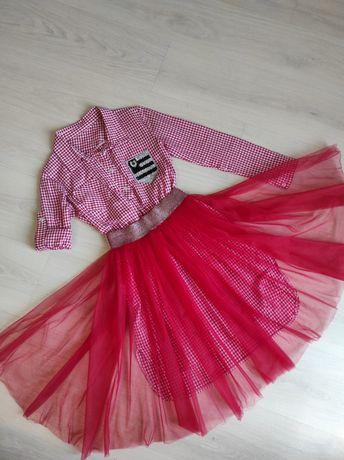 Крутой Костюм Платье-рубашка и фатиновая юбка