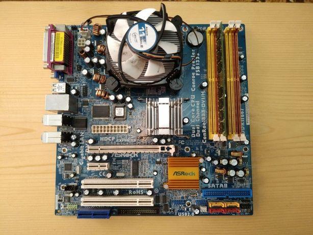Asrock conroe1333-dvi/h(LGA 775), з процессором і озу.