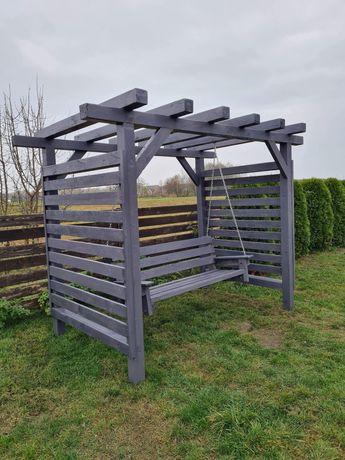 Huśtawka ogrodowa nowoczesna drewniana metalowa transport