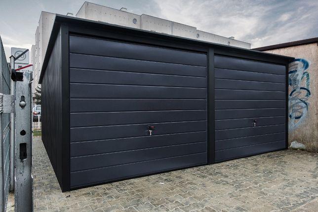 Garaż blaszany | Garaże Blaszane 6x6 | Grafit + Czerń| WZMOCNIONY |