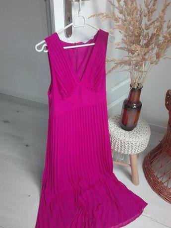 Fuksjowa długa sukienka z plisowanym dołem, TU, rozm. 38