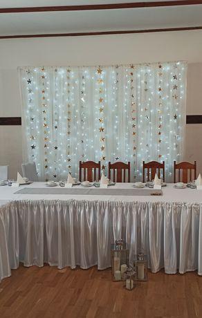 Sprzedam - ścianka weselna, kurtyna lampki led, łuk ślubny