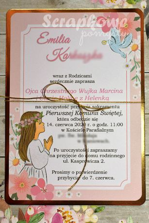 Zaproszenia A5 Komunia, Chrzest lustrzane