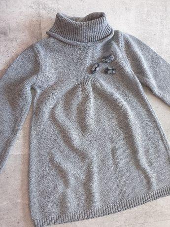 Szara sukienka tunika z dzianiny, ciepła 80cm