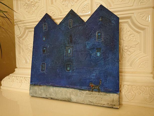Картина лофт котик і його будиночок