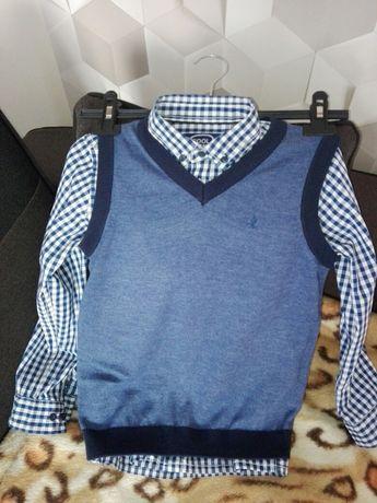 Komplet koszula z kamizelka r 128