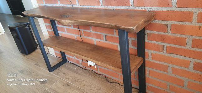 Konsola stolik pod telewizor loft lity dąb