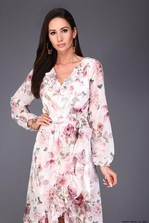 Sukienka asymetryczna kwiaty nowa