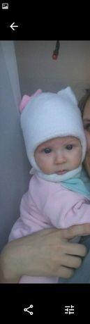 Зимняя тёплая шапка шапочка термо флис 3-6 месяцев