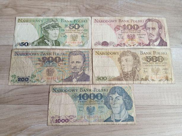 50 zł - 1000 zł PRL - zestaw banknotów.