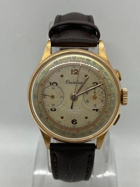 Złoty zegarek BREITLING Chronograph próba 750, 18k, mechaniczny