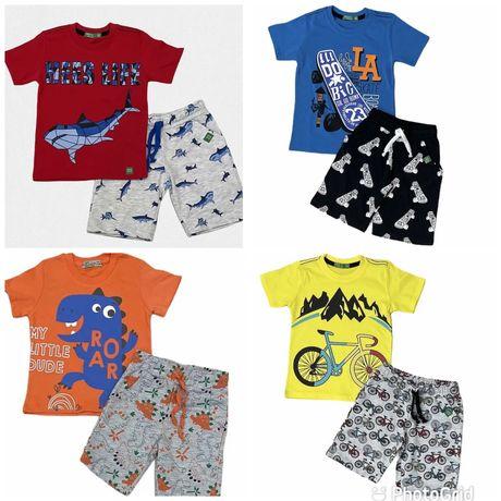Летний комплект,комтюм на мальчика с динозавром/футболка і шорти 1-8