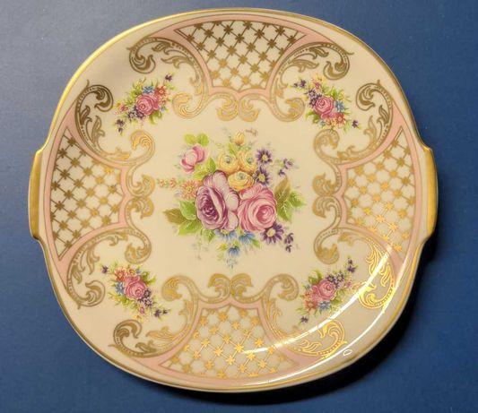 Prato e Travessa em porcelana de Limoges pintada à mão e assinada