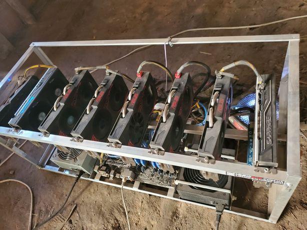 Майнинг ферма риг на 8 карт rx 570 4gb