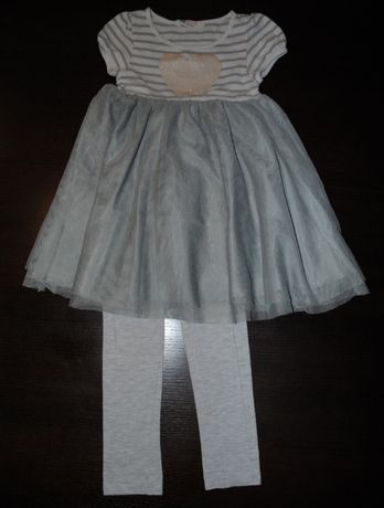 56->zestaw legginsy sukienka tunika H&M r.110/116 4-6Y