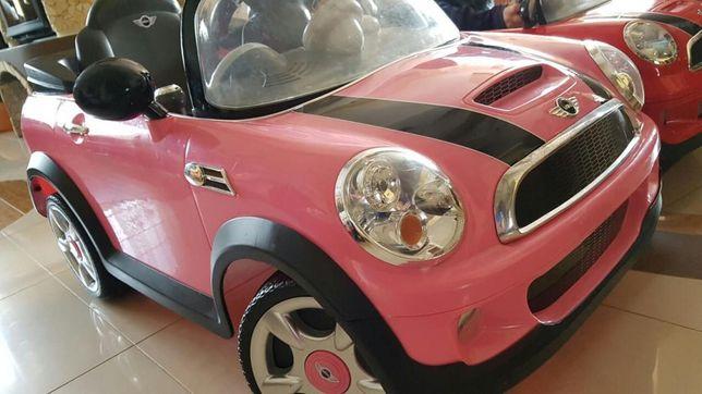 duży mini Cooper elektryczny pojazd różowy światła 6v dla dziewczynki