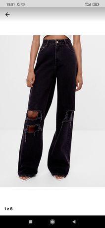Szerokie spodnie dzwony jeansy bershka czarne z dziurami