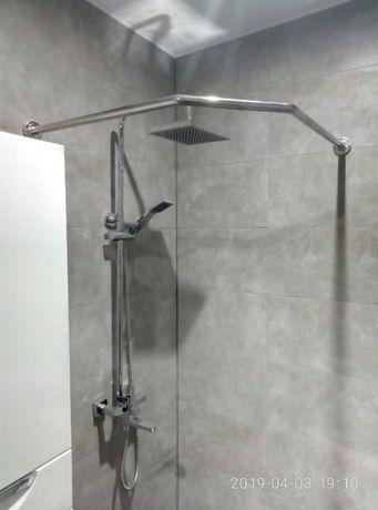 Штанга из нержавейки в ванную для душевой кабинки или шторки занавески