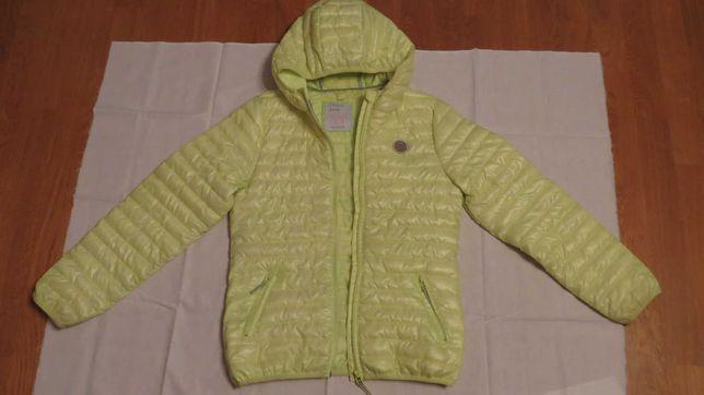 Cienka, seledynowo - cytrynowa kurtka dla dziewczynki - 152 cm