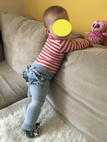 3pak Zestaw legginsy spodnie getry jeansy falbanka na pupie roz 68