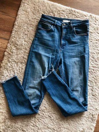 zara woman premium denim proste niebieskie jeansy spodnie skinny