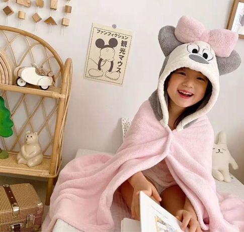 Подарок ребенку- детское полотенце для купания с уголком пончо халат