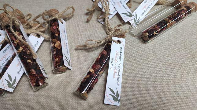 Szklane fiolki na prezent ślubny dla gości