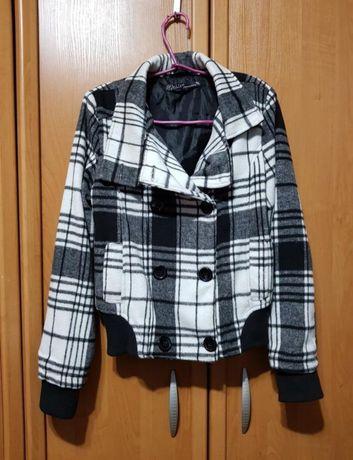 """Черно-белая куртка-пальто, лёгкая курточка под """"шерсть"""""""