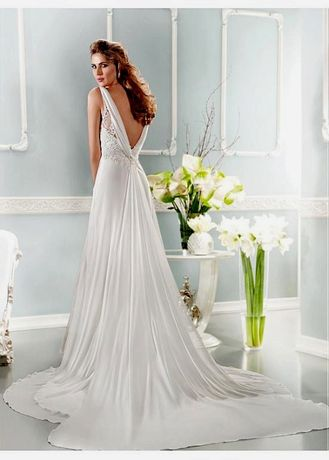 suknia ślubna (ciążowa) elegancki tren koronka 36 S